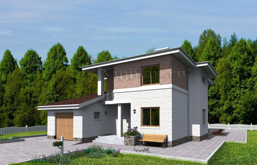 Двухэтажный дом с гаражом, террасой и балконами vg1158 в ниж.